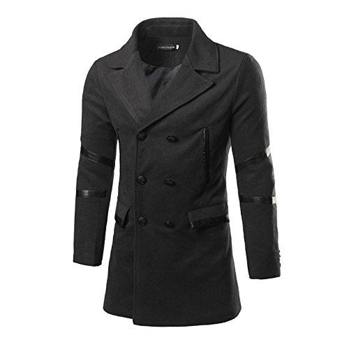 WPEW-Men's Coats Hommes Double Breasted Long Manteau de Laine Veste Veste Homme Revers Occasionnels