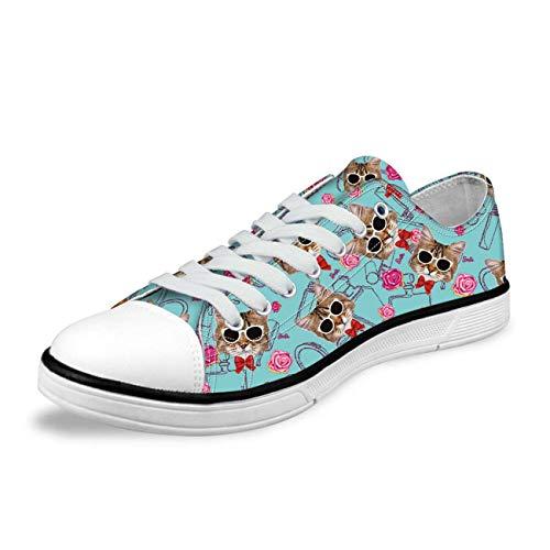 Fashion Canvas Shoes Lace Up Trainers Women Cat Print Sneaker Comfy Walking Pump Blue CC1161AP UK 4