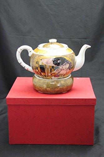 Gustav Klimt Tee Kaffeekanne 'Der Kuss' Porzellan mit Geschenkbox NEU Limited Collection beige