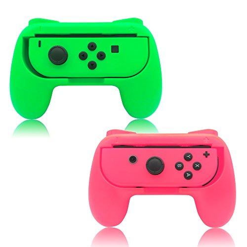 Poignées Fyoung Joy-Con pour Nintendo Switch (2 packs), Poignée Controller pour Nintendo Switch, pour Mario Kart 8, Super Mario Odyssey, Fire Emblem Warriors, Pokken Tournament DX (Sans contrôleur à l'intérieur)