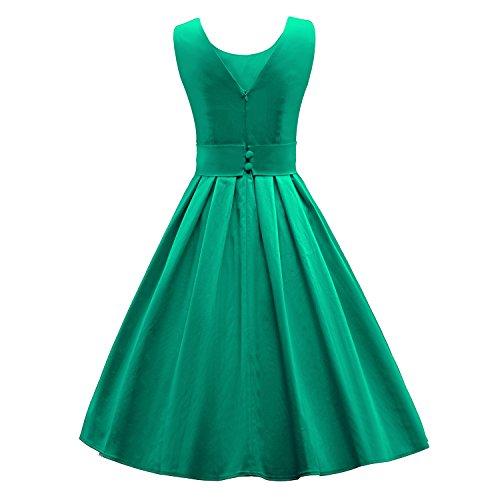 ILover Frauen 50s 60s Zurück V-Ausschnitt-Kreis Vintage-Rockabilly Swing-Party-Tanz-Kleid V034-Grün