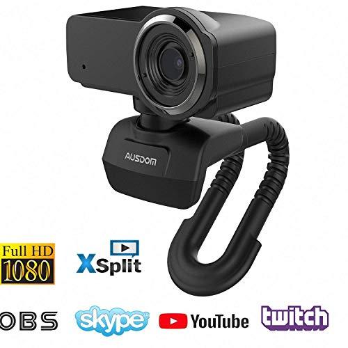 AUSDOM Webcam Pro Stream Caméra Computer 1080P 30fps Full HD avec Microphone Intégré, Caméra Web pour Chat Vidéo et Enregistrement avec USB Plug and Play Compatible avec Windows, Mac