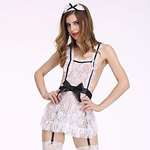 YIZHEN Sexy Dessous, Maid Lace Perspektive Sexy Dessous Maid Outfit Cosplay Kostüm, Nightclub Service Night Show Ds Kostüm,L