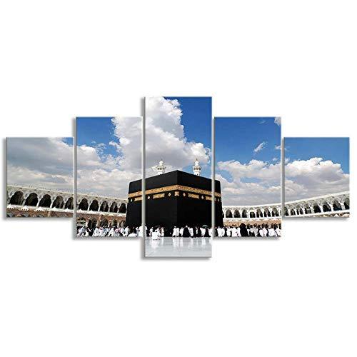 ganjue Leinwand Islamische Wandkunst Malerei Poster Drucke Bilder Für Haus Dekor Und Wohnzimmer 5 Stück Gerahmte Ready to Hang-20Cmx35/45/55Cm,Without Frame -