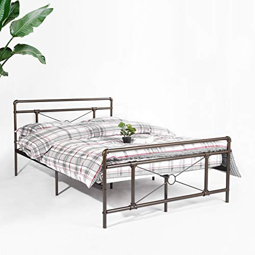 Aingoo Traditional Antique Pipe Shaped Double Bed Frame 4ft 6 Metal Bed Solid for Adults Kids Children Fits for 135 * 190 CM Mattress Antique Bronze