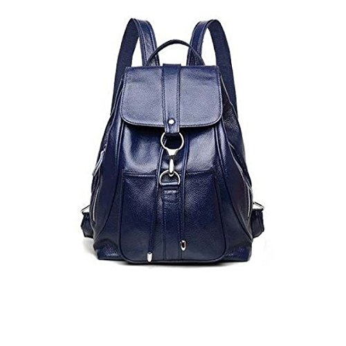 Damen Casual Schultertasche Mode Wilden Weichen Leder Rucksack SapphireBlue