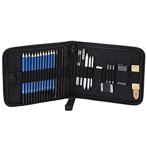 33 Stücke H&B Professionelle Skizzieren Zeichnung Bleistifte Kit Set Kunst Liefert Studenten Malwerkzeuge und Kit Tasche Graphitkohle Bleistifte Set - B&h Kit