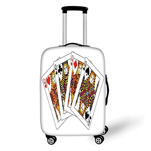 Travel Luggage Cover Suitcase Protector,Queen,Queens Poker Set Faces Hearts and Spades Gambling Theme Symbols Playing Cards,Black Red Yellow,for Travel
