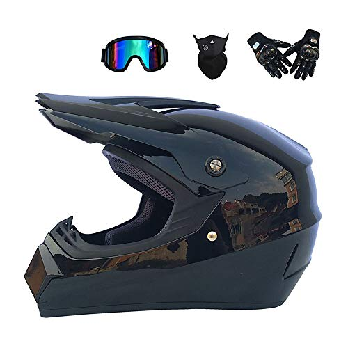 Motocross Helm ATV Dirt Fahrradhelm Old School Cross Country Dual Sport DOT genehmigt Winddichte Brille Maske Handschuhe Combo Motorrad Helm,Brightblack,L