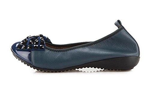 Donne Scarpe Loafer Bow Tie Mary Jane Scarpe Singole Pelle Scarpe Scarpe Madre Scarpe Confortevoli Scarpe Fondo Morbido treasures blue