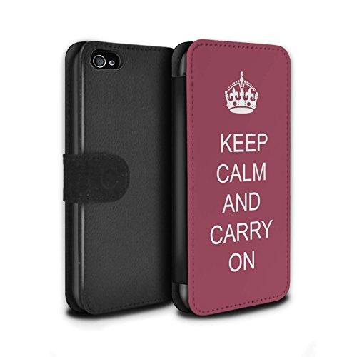 Stuff4 Coque/Etui/Housse Cuir PU Case/Cover pour Apple iPhone 4/4S / Faire du Shopping/Bleu Design / Reste Calme Collection Continuer/Bordeaux