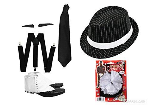 seemeinthat GANGSTER SET FANCY DRESS ACCESSORY COSTUME KIT BLACK BRACES + BLACK TIE + SPIV TASH + SPATS + WHITE ROSE + BLACK PINSTRIPE HAT