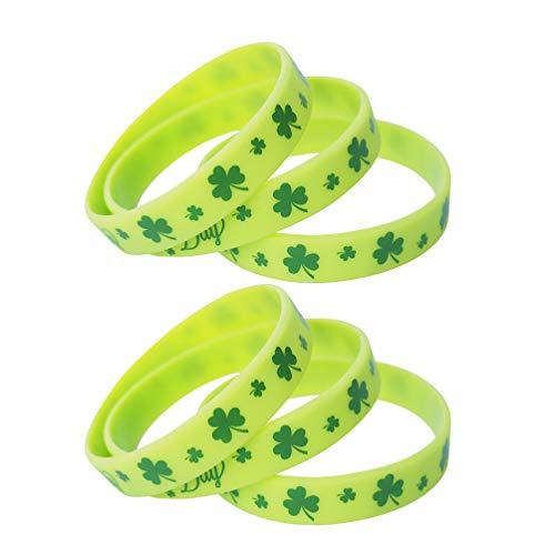 Amosfun 12 Stücke Kleeblatt Armband Silikonarmband Gummiarmbänder Glücksarmband Silikon Armbänder Armreif für St. Patricks Day Zubehör Kostüm Irisches Party Mitgebsel Spielzeug