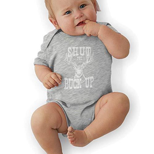 Babybekleidung Jungen Mädchen T-Shirts, Toddler Baby Girl's Bodysuit Short-Sleeve Onesie Shut The Buck Up Print Rompers Summer Pajamas Buck Oxford