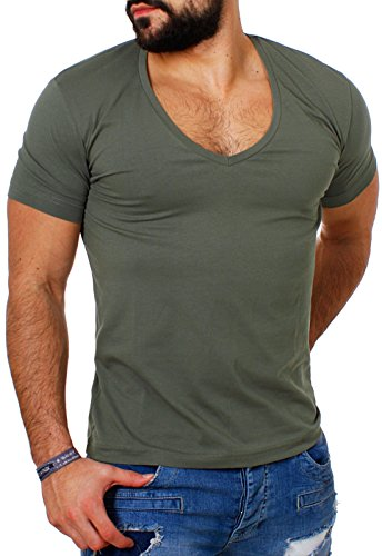 Young & Rich / Rerock Herren Uni T-Shirt mit extra tiefem V-Ausschnitt slimfit deep V-Neck stretch dehnbar einfarbiges Basic Shirt 1315 , Grösse:M;Farbe:military-green (Military Trendige Fashion)