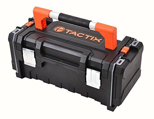 Tactix Werkzeugkoffer, herausnehmbarer Werkzeugträger, 2 seitliche Organizerfächer mit Deckel, Aluminiumhandgriff, 320348