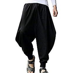 Shaoyao Pantalones Largos para Hombres Harem Holgados Pantalón De Hippie Boho Negro L
