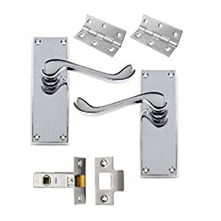 Victorian Scroll Polished Chrome Door Handle Latch Pack + Hinges & 64mm Latch