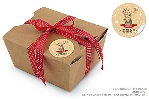 """10 BRAUNE BIO BOXEN + 24 STICKER HIRSCHMOTIV NATUR (Take Away Boxen / Kraftkarton / Pappe / Speiseboxen / Deko Geschenkboxen / Kartonschachteln / Faltdeckel / Innenbeschichtung aus Bio-Wachs / 100% biologisch abbaubar / 600ml rechteckig) • Ein absolutes universal """"Tausendsassa"""" für Weihnachtsgebäck, Kekse, Cupcakes, Kuchen, Gebäck, Super gastgeschenk, Mitbringsel • Aufkleber: 4cm, matt rund"""