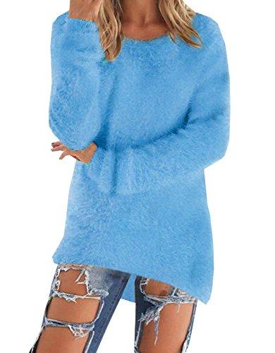 Donne Maglie a Manica Lunga Girocollo Irregolare da Autunno Inverno Pullover Top Sweater blu2
