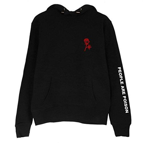 SEWORLD 2018 Damen Mode Sommer Herbst Übergröße Frauen Kapuzenpullover Langarm Stickerei Rose Hoodie Sweatshirt Bluse Tops(Schwarz,EU-44/CN-M) Dolce & Gabbana Hut