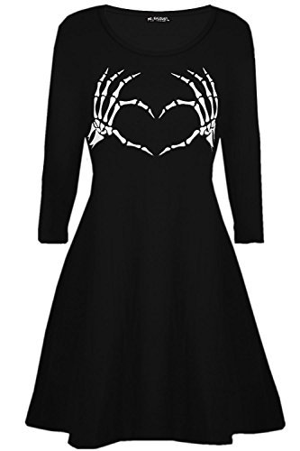 Be Jealous Damen Halloween ausgestellt Kostüm Skelett Knochen Herz Kittel Swing Minikleid 8-26 - Schwarz, Plus Size (UK 24/26) (Kittel Halloween-kostüm)