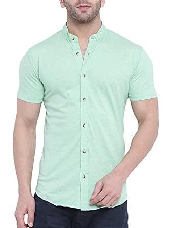 GRITSTONES Men's Plain Regular fit Casual Shirt (GSHSSHT1643LGRN_Light Green_Large)