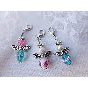 3 Stück Engel, Schutzengel, Perlenengel geblümt, rosa, hellblau, Wichtelgeschenk, Weihnachten, Anhänger für…