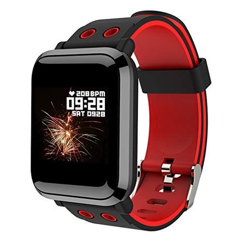 Ejolg IP67 wasserdichte Fitness Trackers Smartwatch,Mit Blutdruck Herzfrequenz Kalorien Schrittzähler Und Andere Funktionen.Unterstützt Mehrere Sprache,Damen Und Herren Fitness Armband Uhr,Red