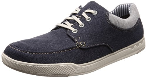 Clarks Herren Step Isle Lace Derbys, Blau (Navy Canvas), 41 EU - Blaue Canvas-schuhe