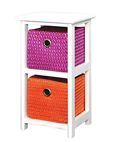 Ts-ideen - Badezimmerschrank (mit 2Körben, Höhe 44cm), Farben: orange, weiß und lila