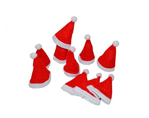 Kostüm Hoch Elf - * 10 Mini-Deko-Weihnachtsmannmützen Weihnachtsmützen Weihnachtsdeko Adventdeko ca. 11 cm hoch