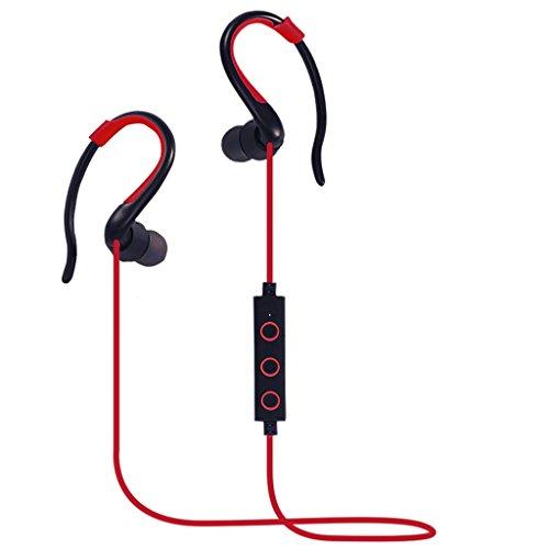 Homyl Universale Bluetooth Cuffie Magnetico con Microfono Sportivo Cuffia per Viaggio Palestra - Rosso