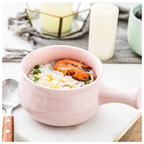 CJW Bol petit-déjeuner anti-brûlure à poignée en céramique - bol à bouillie bol à céréales bol bol à salade de fruits bol (Color : Pink)