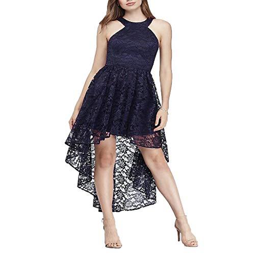 (Damen Kleid,❤️Binggong Damen Vintage O-Neck Princess Blumenspitze Cocktailparty unregelmäßiges Swingkleid)