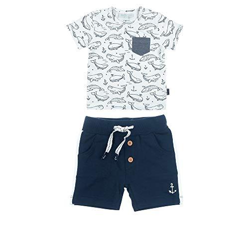 Feetje Baby-Jungen T-Shirt und Shorts, zweiteiliges Set Mr. Good Looks, Marine-orange, 86