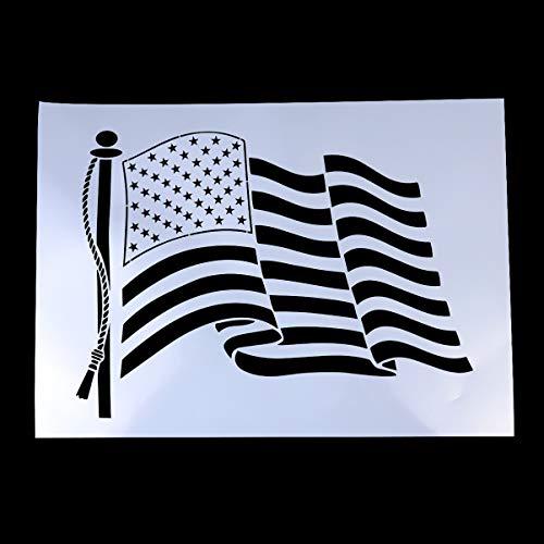 SUPVOX 1pc Schablonen der amerikanischen Flagge Plastikschablonenschablone 50 Sternflaggenschablone für das Malen auf Holz Papier Gewebe Glas und Wandkunst -