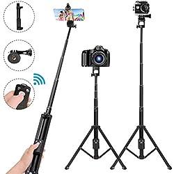 LEXY Perche Selfie Trépied, 137.1 cm Extensible Selfie bâton Trépied, télécommande sans Fil Bluetooth, Compatible avec l'iPhone 6 7 8 x Plus, Samsung Galaxy S9/, GoPro, Appareils Photo Numériques