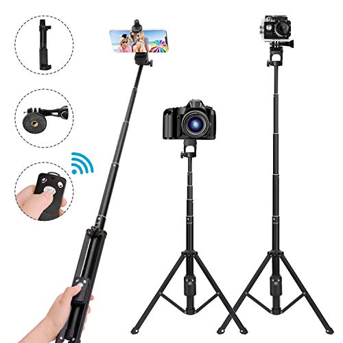 Selfie Stick Tripod,54 Inch Extendable Camera Tripod for Cellphone,Bluetooth Remote for Apple & Android Devices,Suitable for iPhone 6 7 8 X Plus,Samsung Galaxy S9 Note8,Gopro Adapter Included