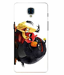 Make My Print Angry Bird Printed Colorful Hard Back Cover For OnePlus 3