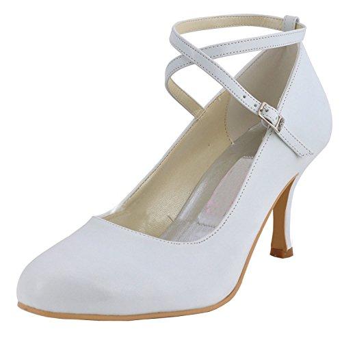 MINITOO ,  Damen Modische Hochzeitsschuhe, weiß - White-7.5cm Heel - Größe: 42 2/3 - Glitter Bow Flats Schuhe