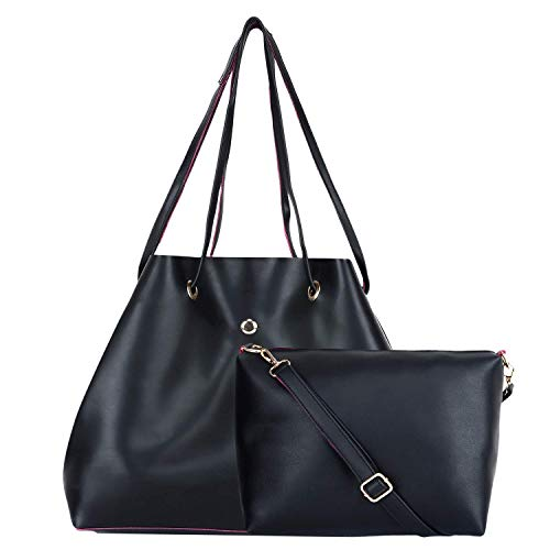 Auriel Women's PU Leather Hand Bag with Slings Combo (Black)