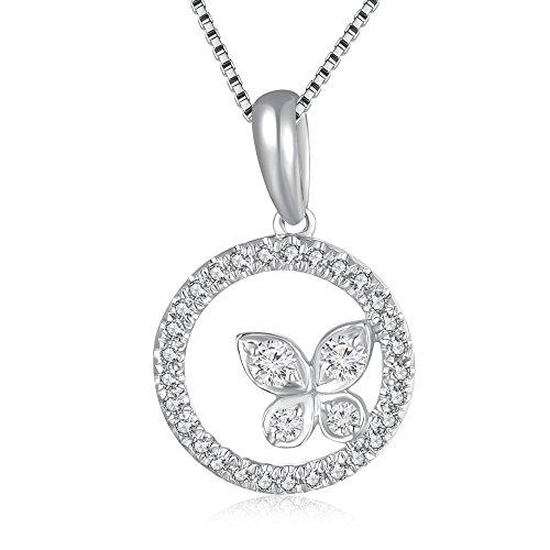 18ct oro bianco diamante anello e ciondolo a forma di farfalla in argento sterling 925w/(0,17cttw, certificato g-h colore, si1chiarezza)