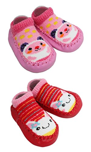 2 Pairs of Baby Boys Girls Fleece Non-slip Slippers Socks 6-12 12-24 Months