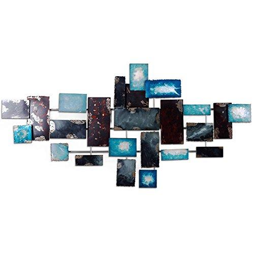 Gaoqq decorazione da parete in ferro battuto con elementi metallici decorazione da parete, camera da letto con decorazioni per pareti industriali,blue