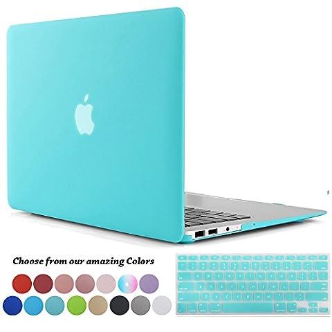 Coque MacBook Air 11 pouces,TECOOL [Ultra Mince Série] Plastique Mate Rigide Étui avec Housse de Clavier en Silicone pour MacBook Air 11.6 Modèle: A1370 and A1465 - Turquoise