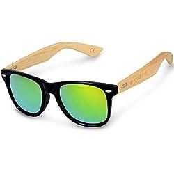 Navaris Gafas de sol UV400 - Gafas de madera para hombre y mujer - Gafas de sol con patillas de madera en diferentes colores - Negro y verde
