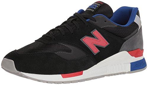 New Balance Uomo 840 scarpe da ginnastica in pelle scamosciata, Nero, 46.5