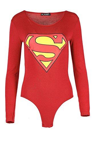 Damen Promi Inspiriert Superman Batman Stretch Trikot Slim Fit Langärmlig Damen Rundhals Bodysuit Top - Superman Rot, 40/42