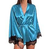 CICIYONER Damen Frauen Satin Nachthemd Seide Dessous Nachtwäsche Sexy Robe S-XXXL